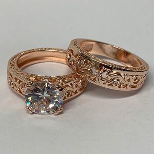 Boutique | Rose Gold 3 CT White Topaz Ring Set